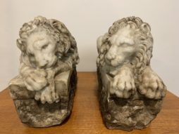 Pair of Antique 1850s Recumbent White Marble Lion Figurines