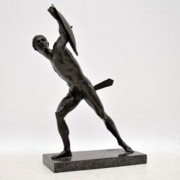 Antique Neo-Classical Greek Warrior Bronze Sculpture