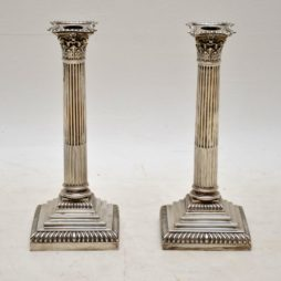 Pair of Antique Edwardian Solid Silver Corinthian Column Candlesticks