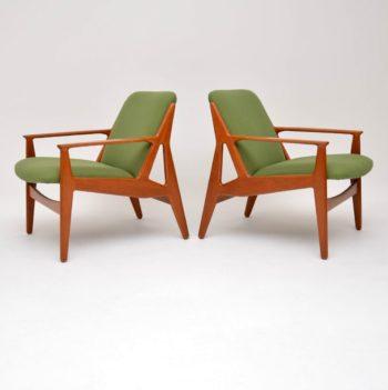 1950's Pair of Danish Teak Armchairs by Arne Vodder