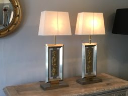 A Pair 1970's Italian Stainless Steel And Brass Table Lamps