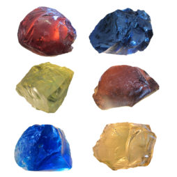 Set of 6 large coloured rock glass slags