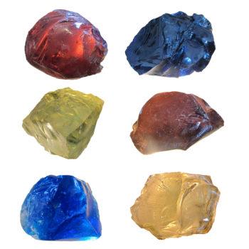 Set of 6 large coloured rock glass slags