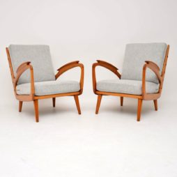 Pair of Vintage Cherry Wood Armchairs