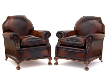 Superb Pair of Large Antique Leather Club Chairs