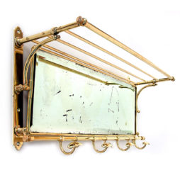 Large Brass Mirrored Portmanteau with Bevelled Distressed Plate