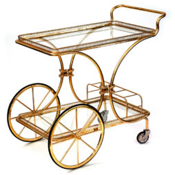 Super Quality Vintage French Brass Bar Cart Drinks Trolley