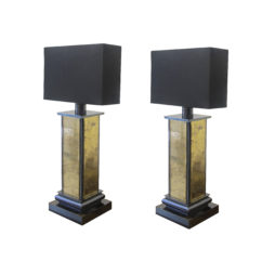 A 1970's pair of gold mirrored table lamps