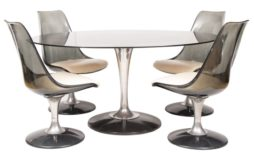 1970s Chromcraft Smoked Glass Oval Tulip Dining Table and 4 Swivel Chairs