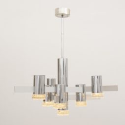 1970s Italian Chrome and Glass Hanging Light by Gaetano Sciolari