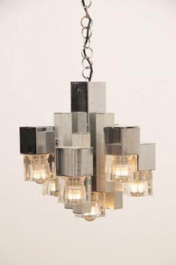 1970s Sciolari Chrome & Glass Cubic Hanging Light