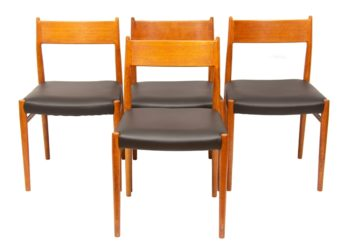 1960s Set of 4 Teak and Leather Arne Vodder Model 418 Dining Chairs