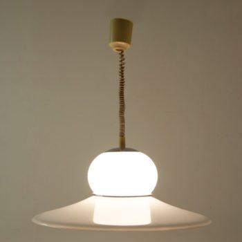 1970s White Plexiglass and Chrome UFO Guzzini Hanging Light
