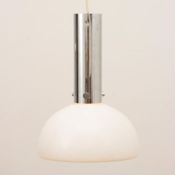 1970s Piell & Putzer Opaline Glass and Chrome Hanging Light