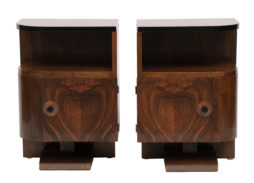 Pair of 1930s Art Deco Walnut Bedside Tables with Black Lacquered Tops