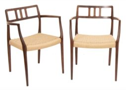 Pair of Niels Møller for J.L. Møllers Rosewood Carver Dining Chairs Model 64