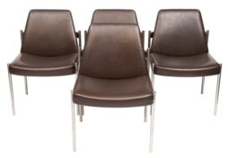 Set of 4 1960s Dining Chairs by Sven Ivar Dysthe for Dokka Mobler - Rosewood, Chrome and Brown Leather