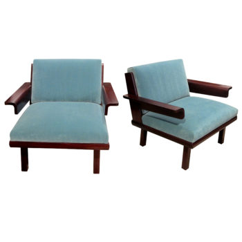 A pair of armchairs upholstered in blue velvet, Mid century, Swedish