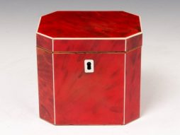 Extremely rare octagonal Red Tortoiseshell Tea caddy