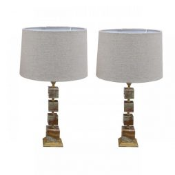 Onyx Pair of Lamps