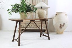 Antique French 19th Century Rustic Trestle Console Table
