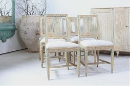 Set of Six Antique Period Swedish 18th Century Dining Chairs