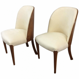 Pair of Art Deco Walnut Chairs