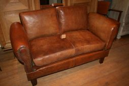 Vintage French 1940s Leather Sofa Daybed