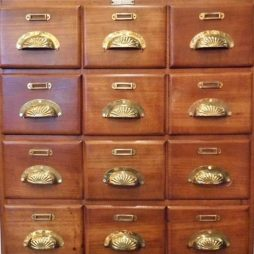 Vintage French Bank of Beech Drawers