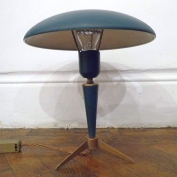 Iconic Green Louis Kalff Lamp Circa 1955 sometimes known as the Rocket Lamp Made by Philips of Holland