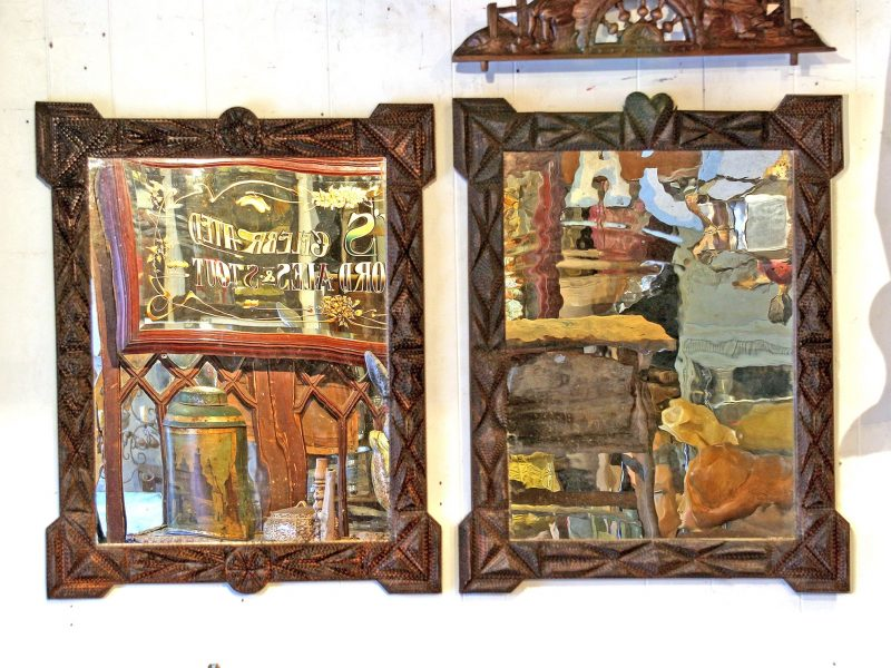 Antique Pair Of Tramp Art Framed Mirrors From Alsace