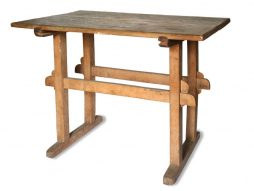 Antique French Butchers Shop Table in Fruitwood