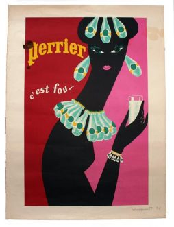 Bernard Villemot (1911-1989) A Rare Signed Print Version of 'Perrier C'est Fou', dated 1978
