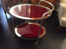 Art Deco French Oval Maroon Chrome and Glass Trolley