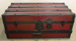 Antique Shipping Trunk in Deep Cherry Red