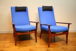 Pair 1960s Toothill Dark Teak Chairs