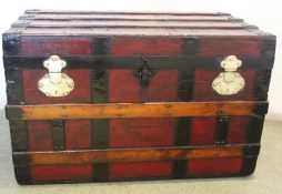 Antique Dark Red French Travelling Trunk