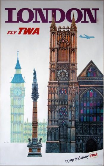 David Klein (1918-2005) An Original TWA London Travel Poster, 1960s