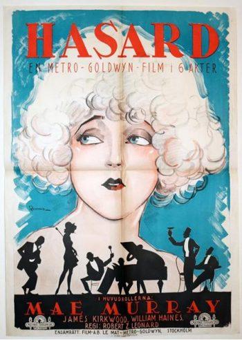 An Extremely Rare Swedish Film Poster for Circe, the Enchantress (aka Hasard), 1924