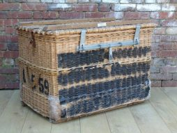 Vintage 1940s English Wicker Laundry Basket by C. SAGE & SON