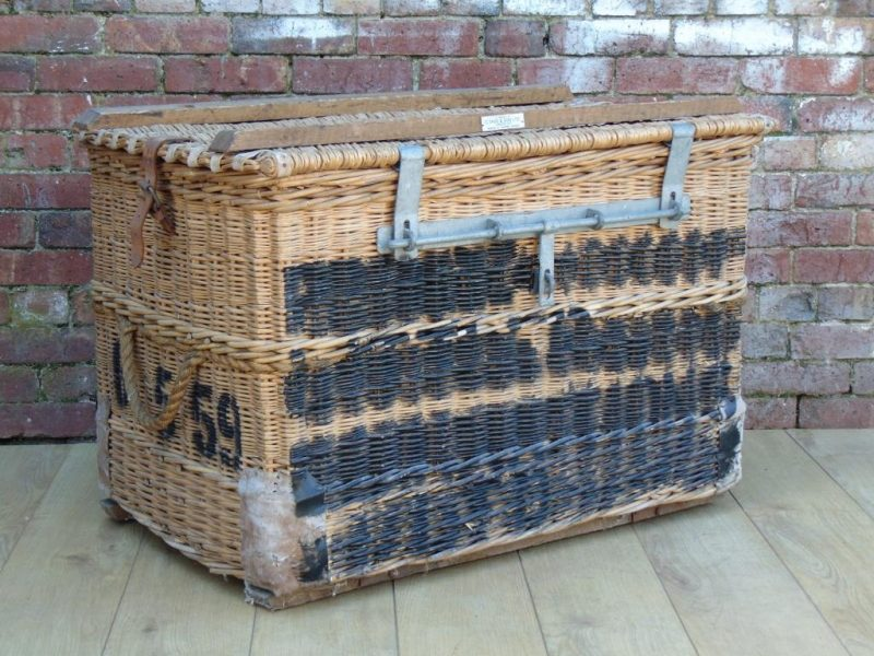 Vintage 1940s English Wicker Laundry Basket By C Sage Son