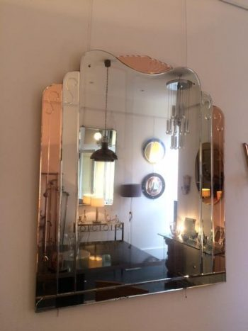 Odeon Style Art Deco Peach and Silver Mirror