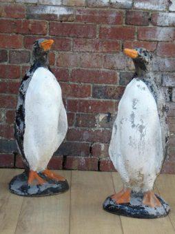 Pair Vintage Decorative Reconstituted Stone Penguins