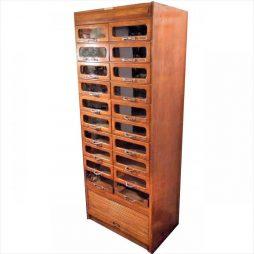 1930s Golden Oak 18 Drawer Haberdashery Cabinet