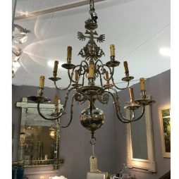 Early 20th Century Silver-Plated Northern European Chandelier with Emblem of the Czars