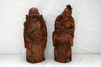 Pair of 19th Century Finely Carved Antique Bamboo Figures