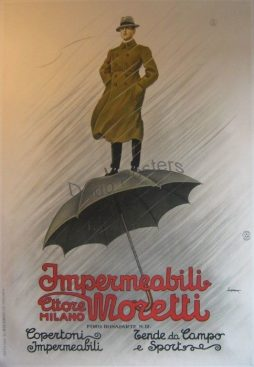 Antique Impermeabili Moretti Advertising Poster By Artist Metlicovitz