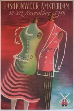 Fashion Week Amsterdam 1948 Poster By Artist Cor V. Velsen