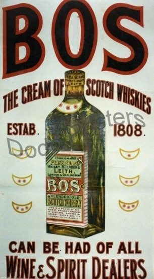 Antique BOS Wine Advertising Poster