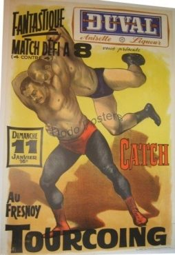 Antique Duval Wrestling Yellow Poster